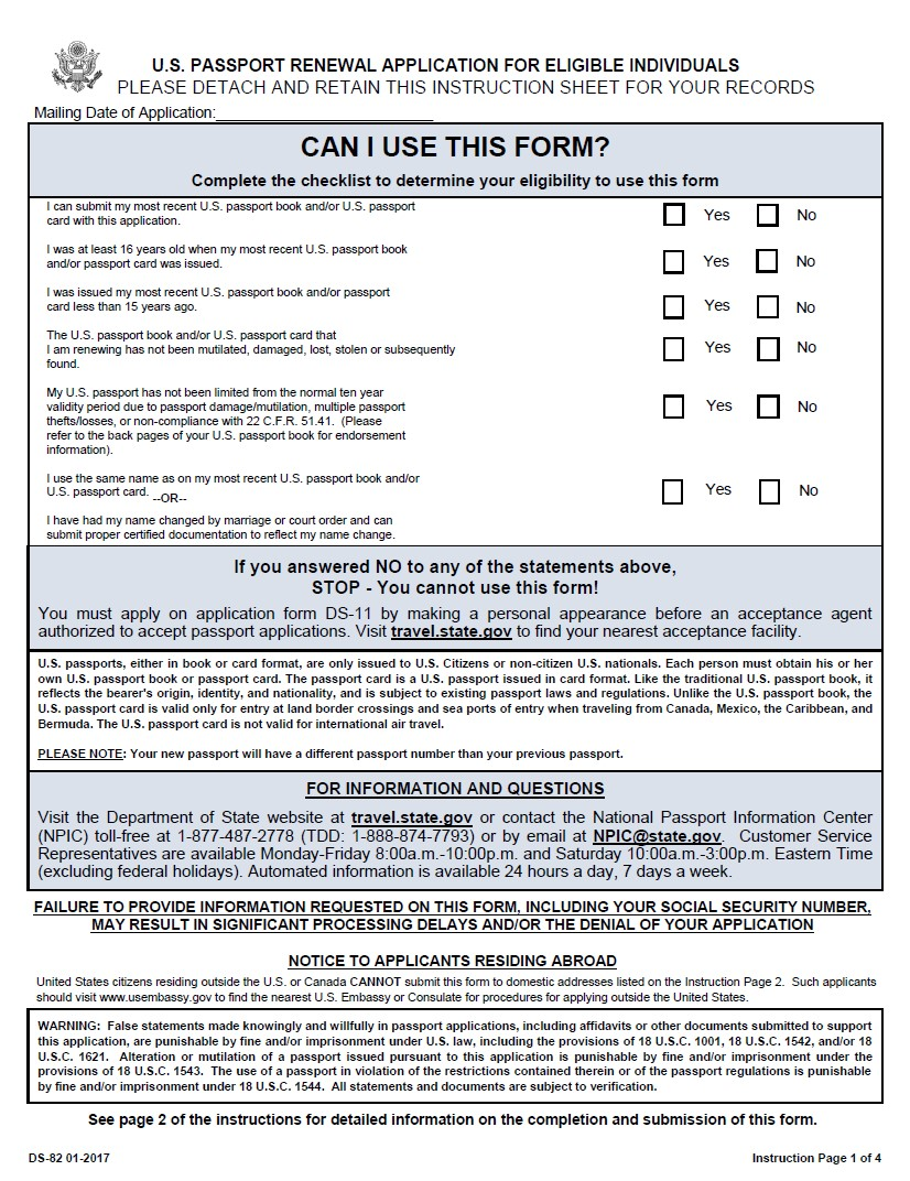DS-82 Passport Renewal Form