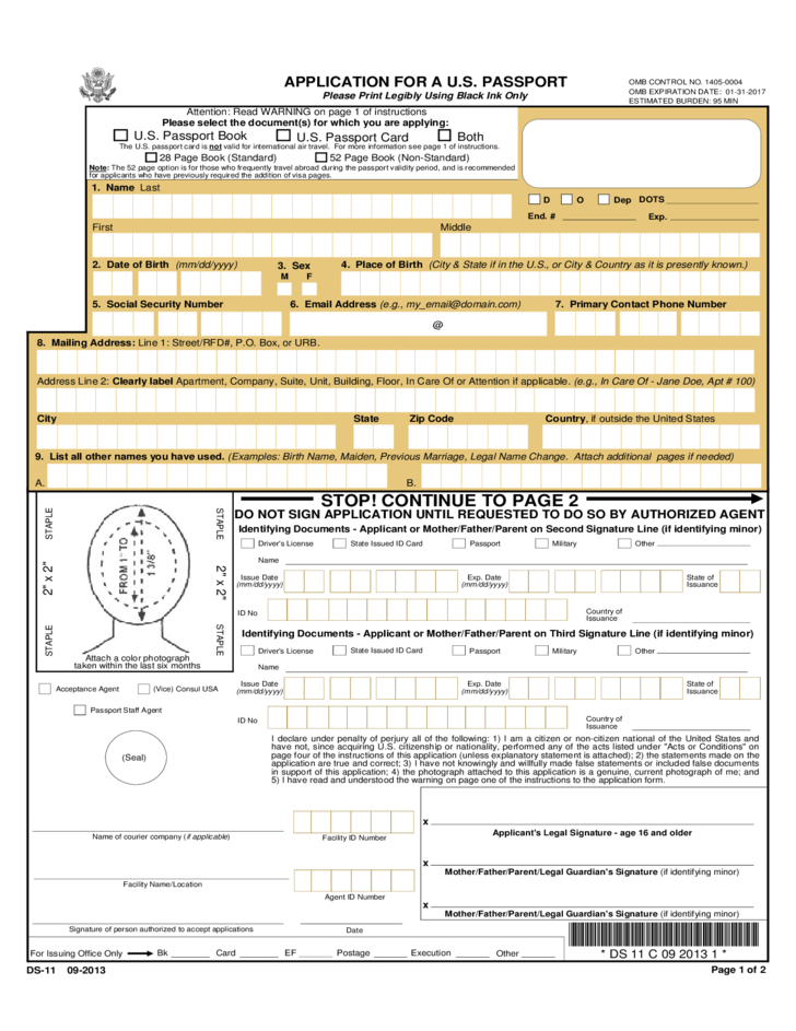 Application For A United States Passport Free Download