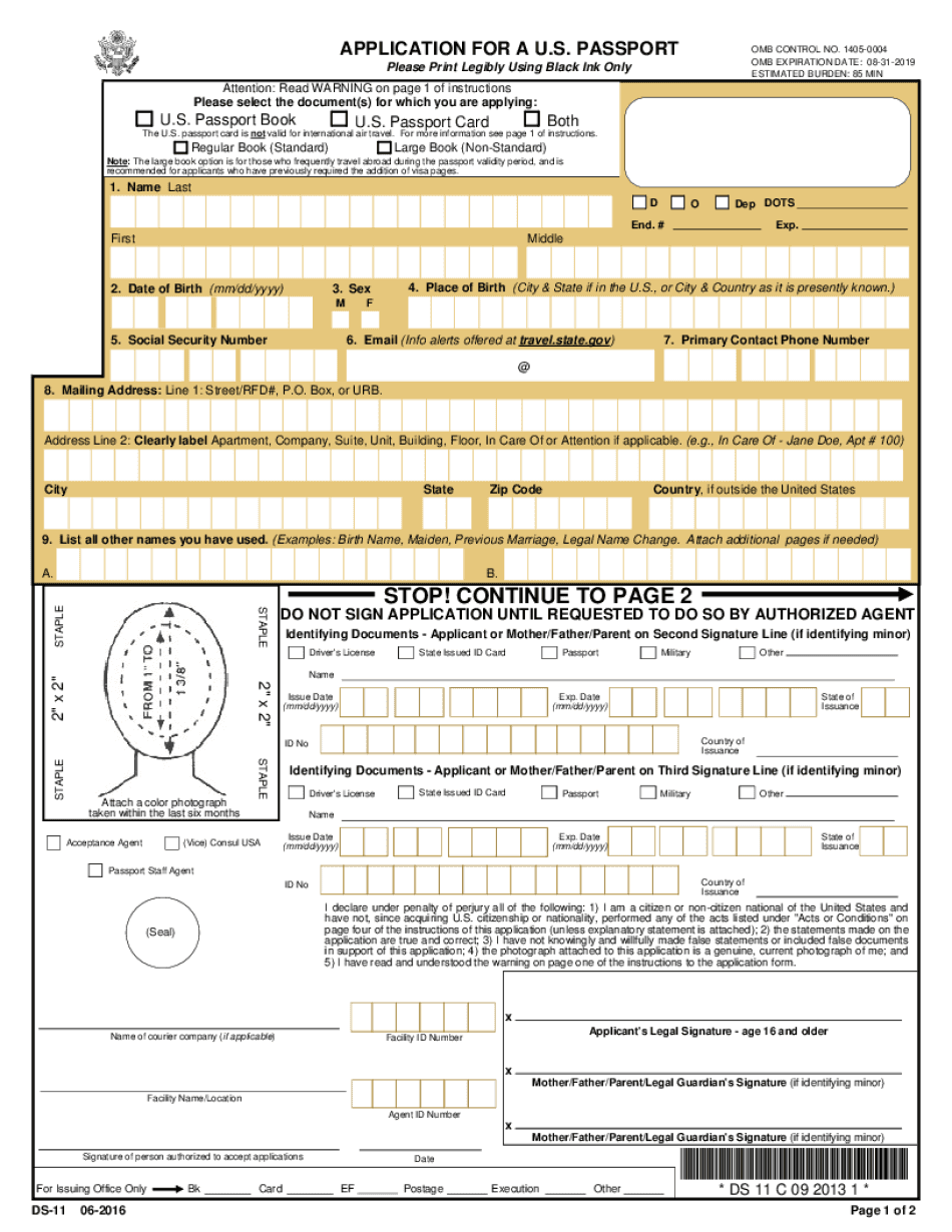 DS 11 Form 2018 Fillable Printable Online PDF Sample
