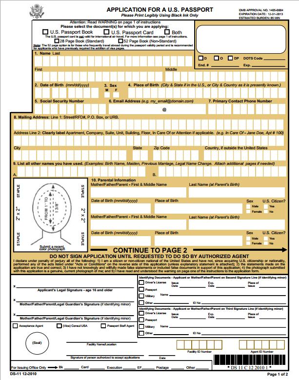 DS 11 New Passport Form Application Passport Info Guide