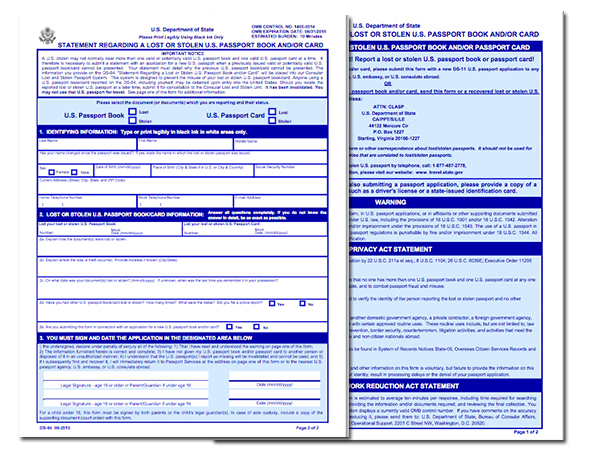 DS 64 Application For Lost Or Stolen Passport