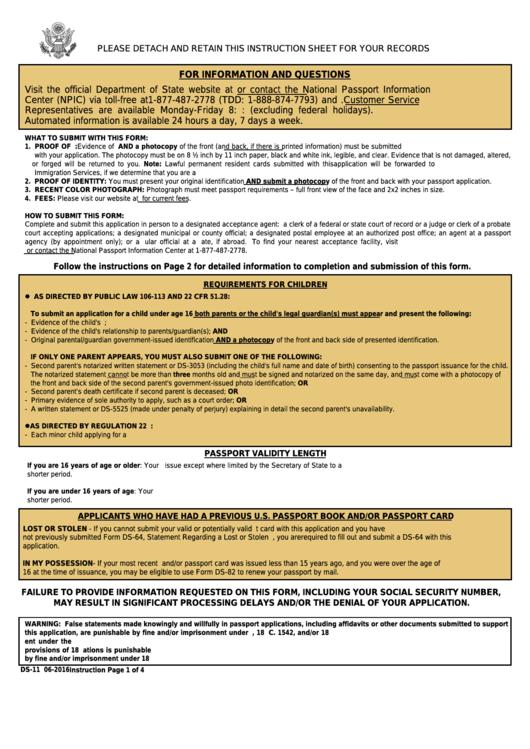 Form Ds 11 Application For A U s Passport Printable Pdf