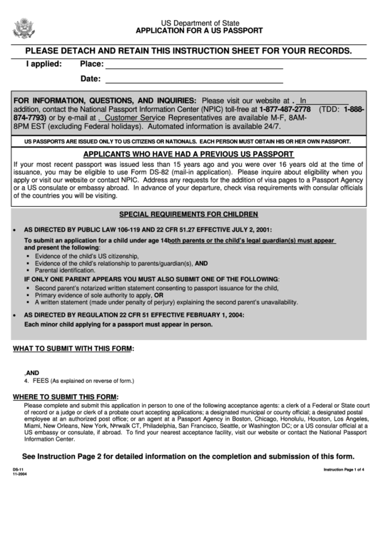 Form Ds 11 Application For A Us Passport Printable Pdf