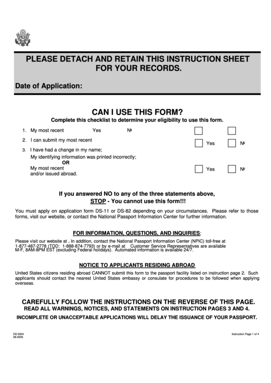 Form Ds 5504 Us Passport Re Application Form Printable