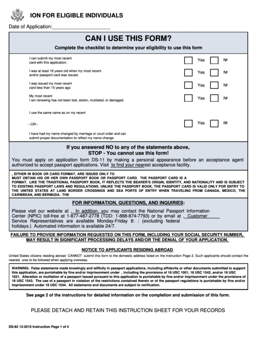 Form Ds 82 U s Passport Renewal Application For