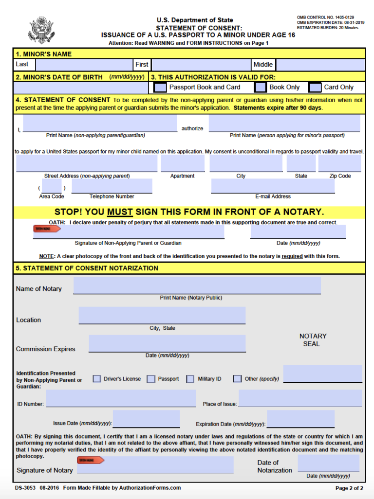 Free Passport Parental Consent Form DS 3053 PDF