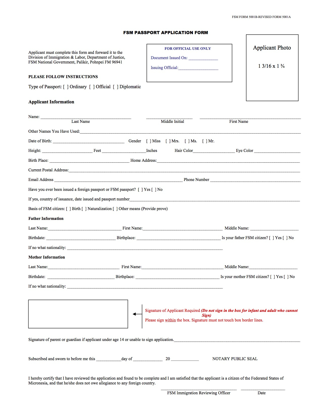 FSM Passport Application Form Embassy Of The Federated