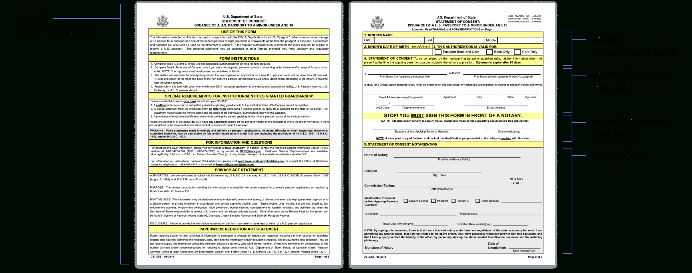 Notarize DS 3053 Form Passport Parental Consent Online