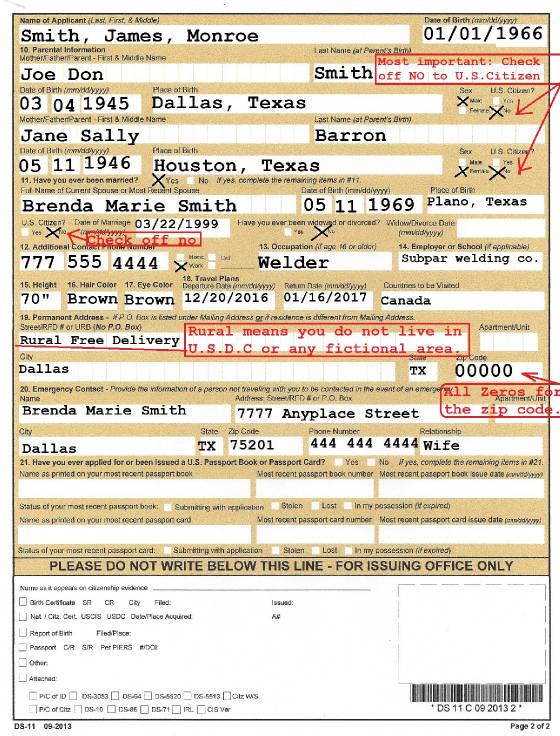 Passport Card Application Form Ds 11 Gemescool