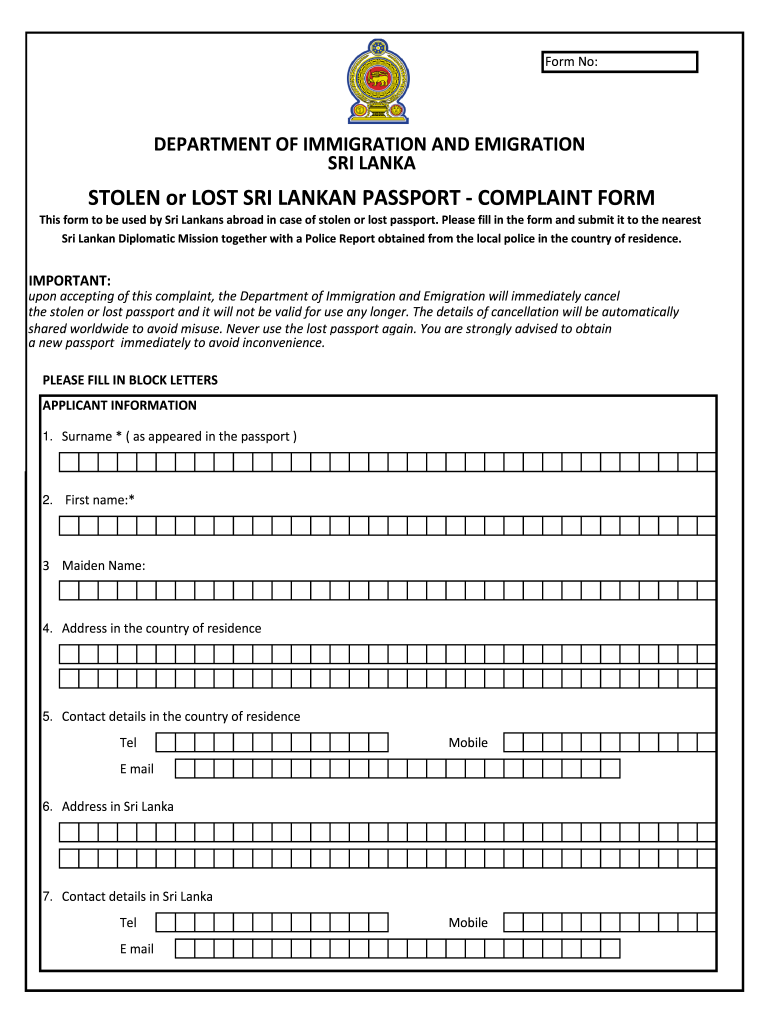 Sri Lanka Passports Form To Fill Fill Out And Sign