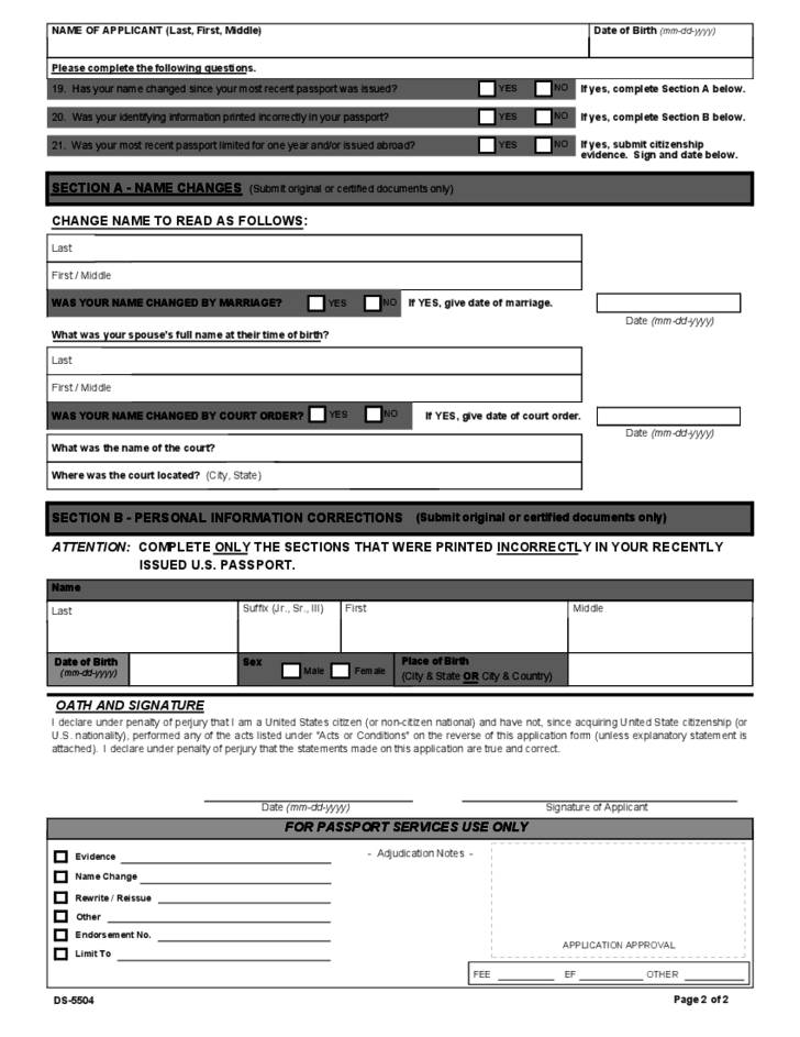 U S Passport Re Application Form Free Download