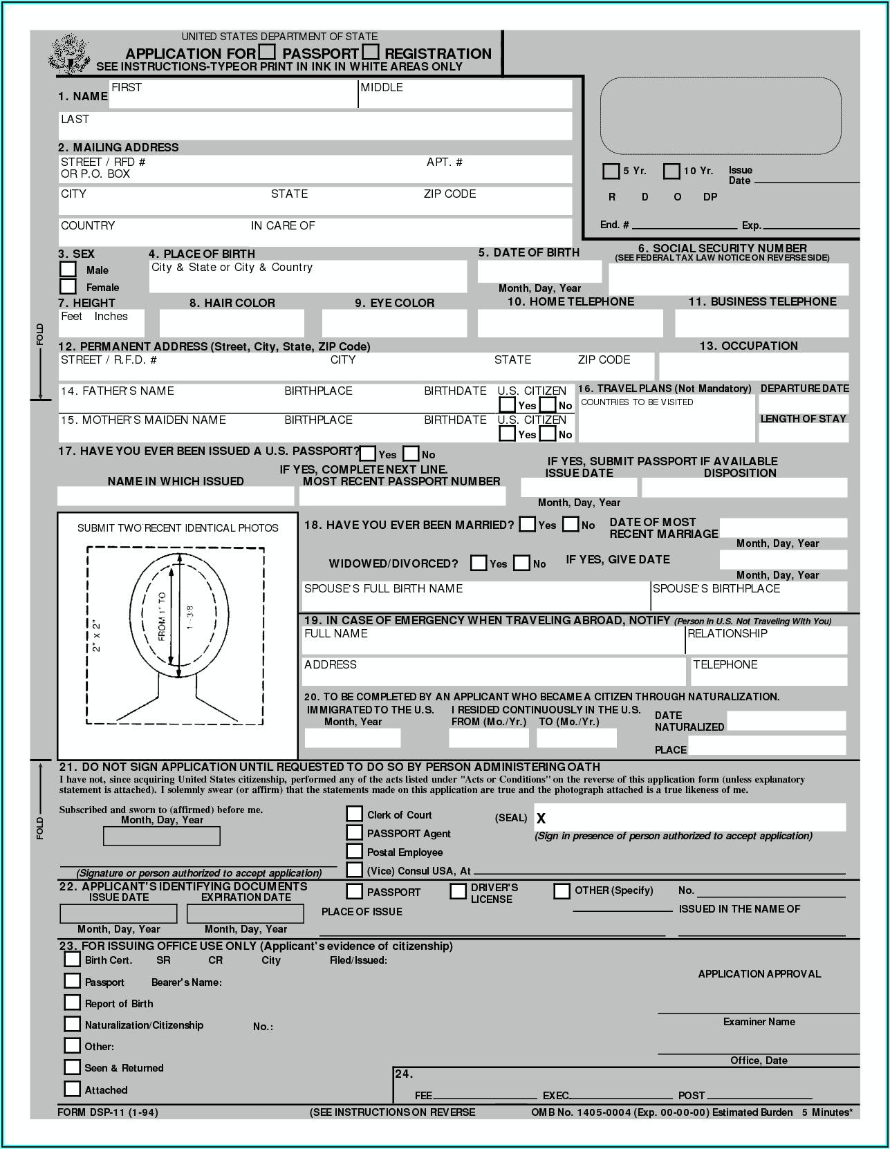 United States Passport Renewal Forms Form Resume
