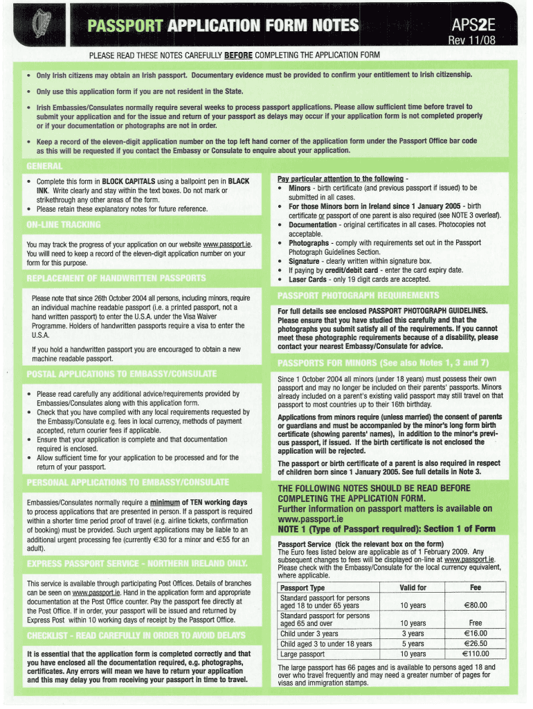 2008 Form Ireland APS2E Fill Online Printable Fillable