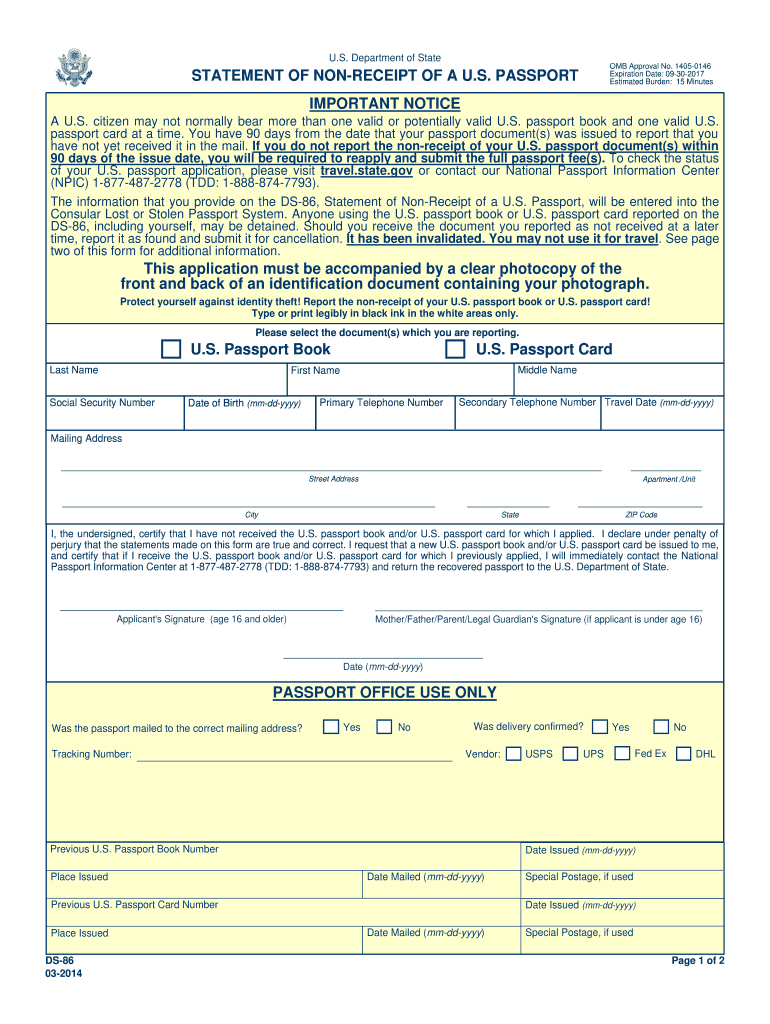 2014 Form DS 86 Fill Online Printable Fillable Blank