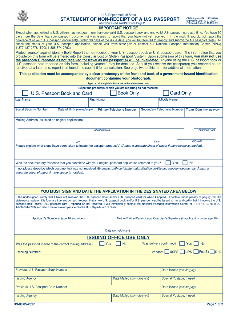 2017 2020 Form DS 86 Fill Online Printable Fillable