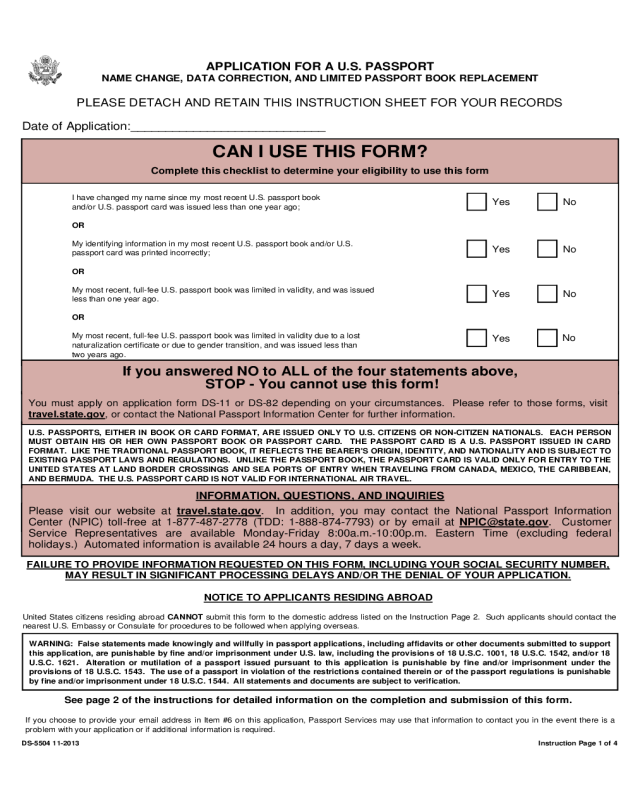 2020 Passport Name Change Form Fillable Printable PDF