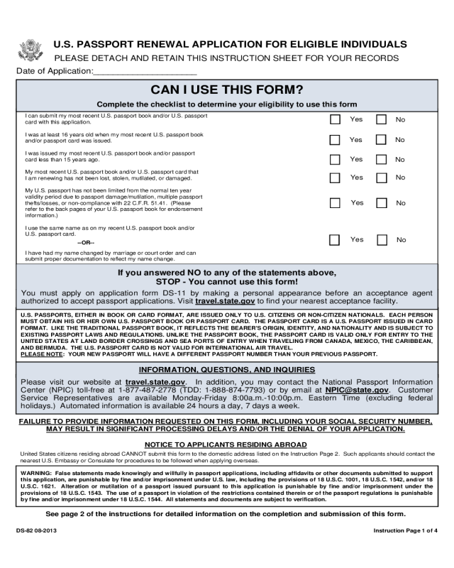 2020 Passport Renewal Form Fillable Printable PDF