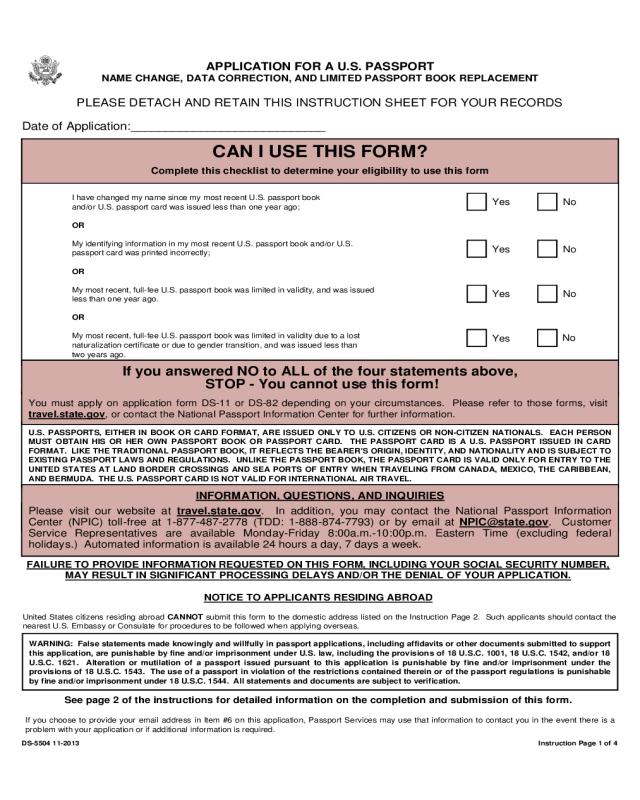 2021 Passport Address Change Form Fillable Printable