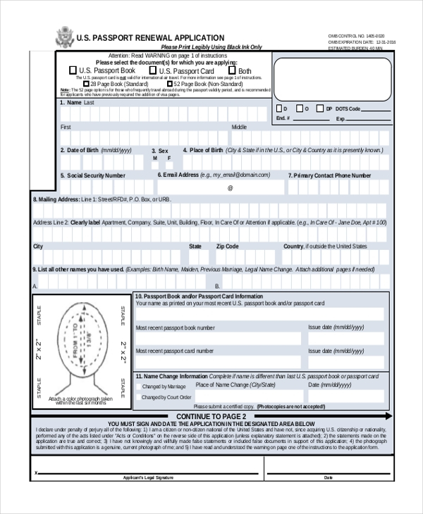 Application For Passport Renewal For Minors From Sa