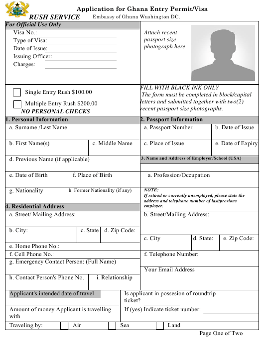 Application Form For Ghana Entry Permit Visa Embassy Of