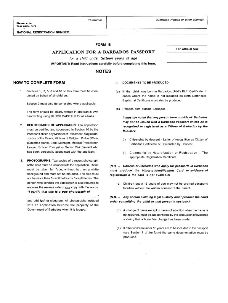 Barbados Passport Renewal Form D PrintableForm