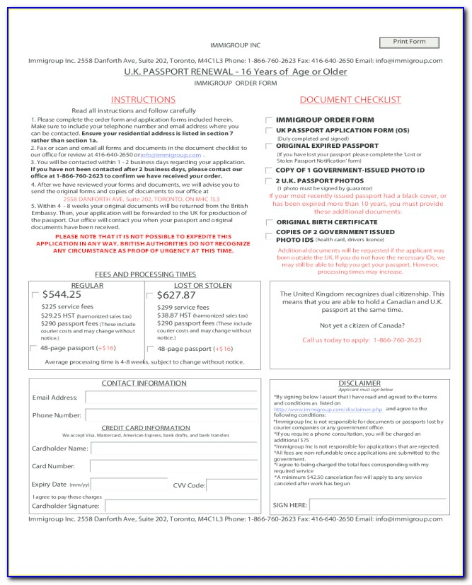Canadian Passport Renewal Application Form From Usa