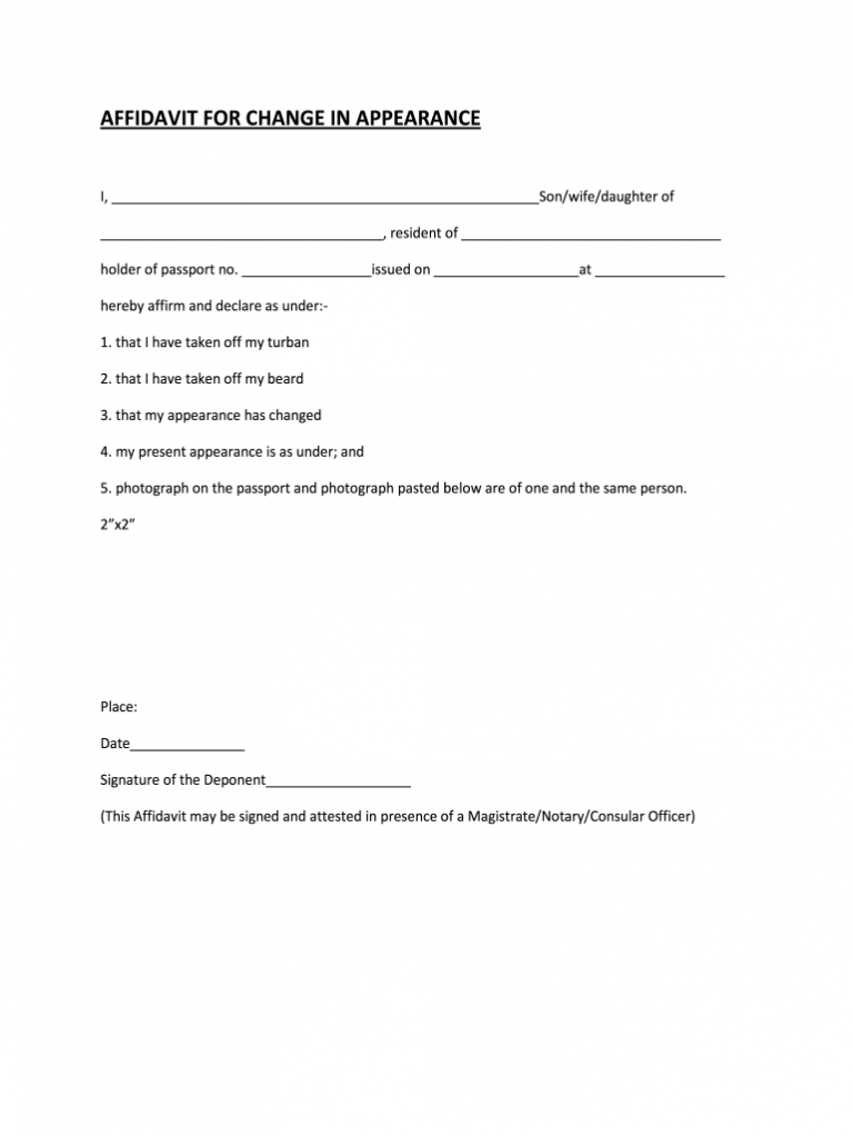 Change Of Appearance Signature Form Fill Out And Sign