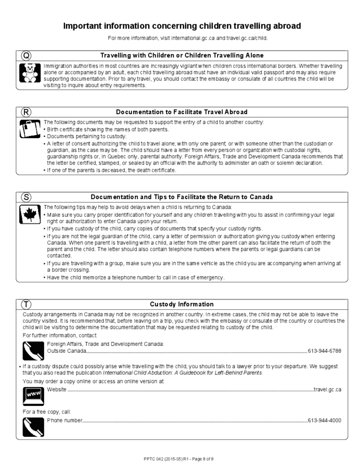 Child Abroad General Passport Application For Canadians