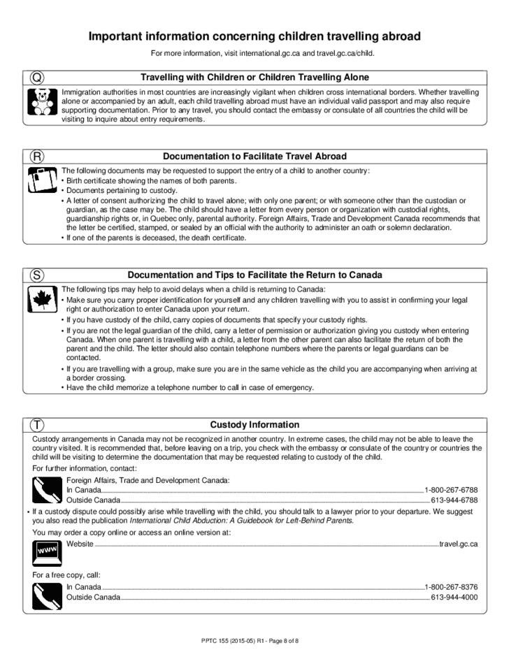 Child Passport Form Canada Free Download