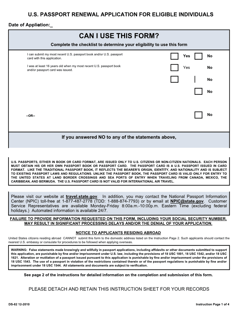 Download Free U S Passport Renewal Application DS 82