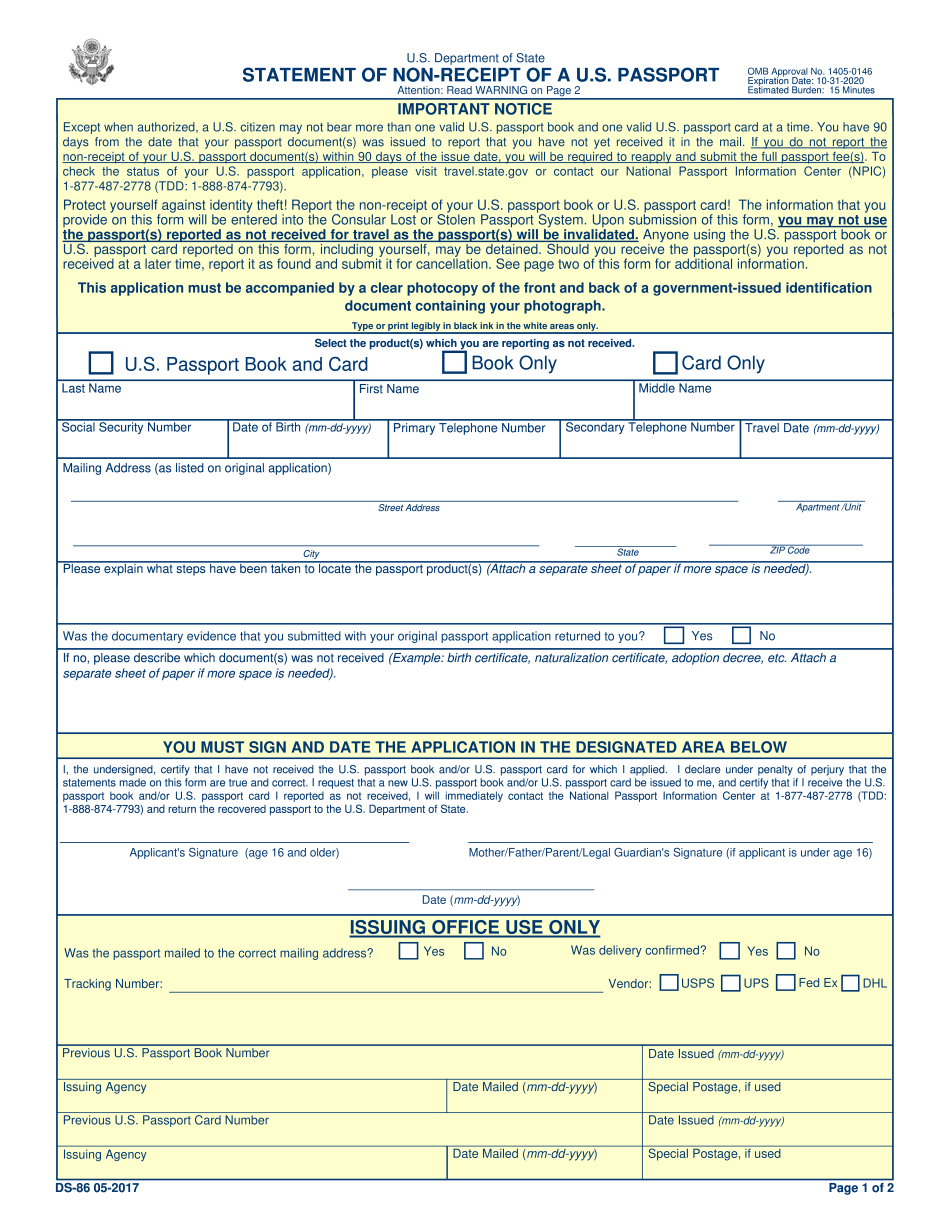 Ds86 Printable Editable Blank PDF To Download