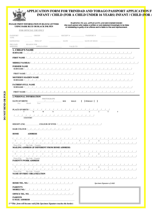 Fillable Application Form For Trinidad And Tobago Passport