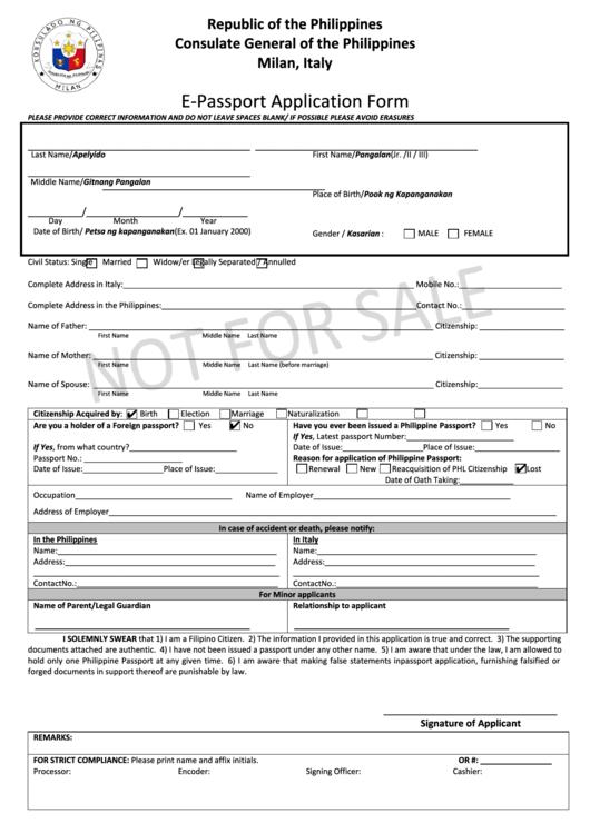 Fillable E Passport Application Form Printable Pdf Download