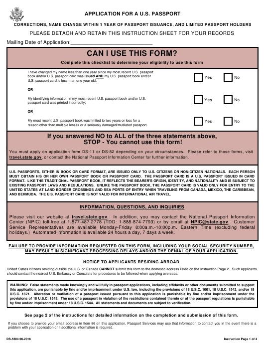 Form DS 5504 Download Printable PDF Application For A U S
