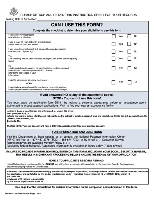 Form Ds 82 U s Passport Renewal Application For
