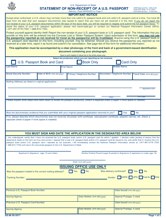 Form DS 86 Download Printable PDF Or Fill Online Statement