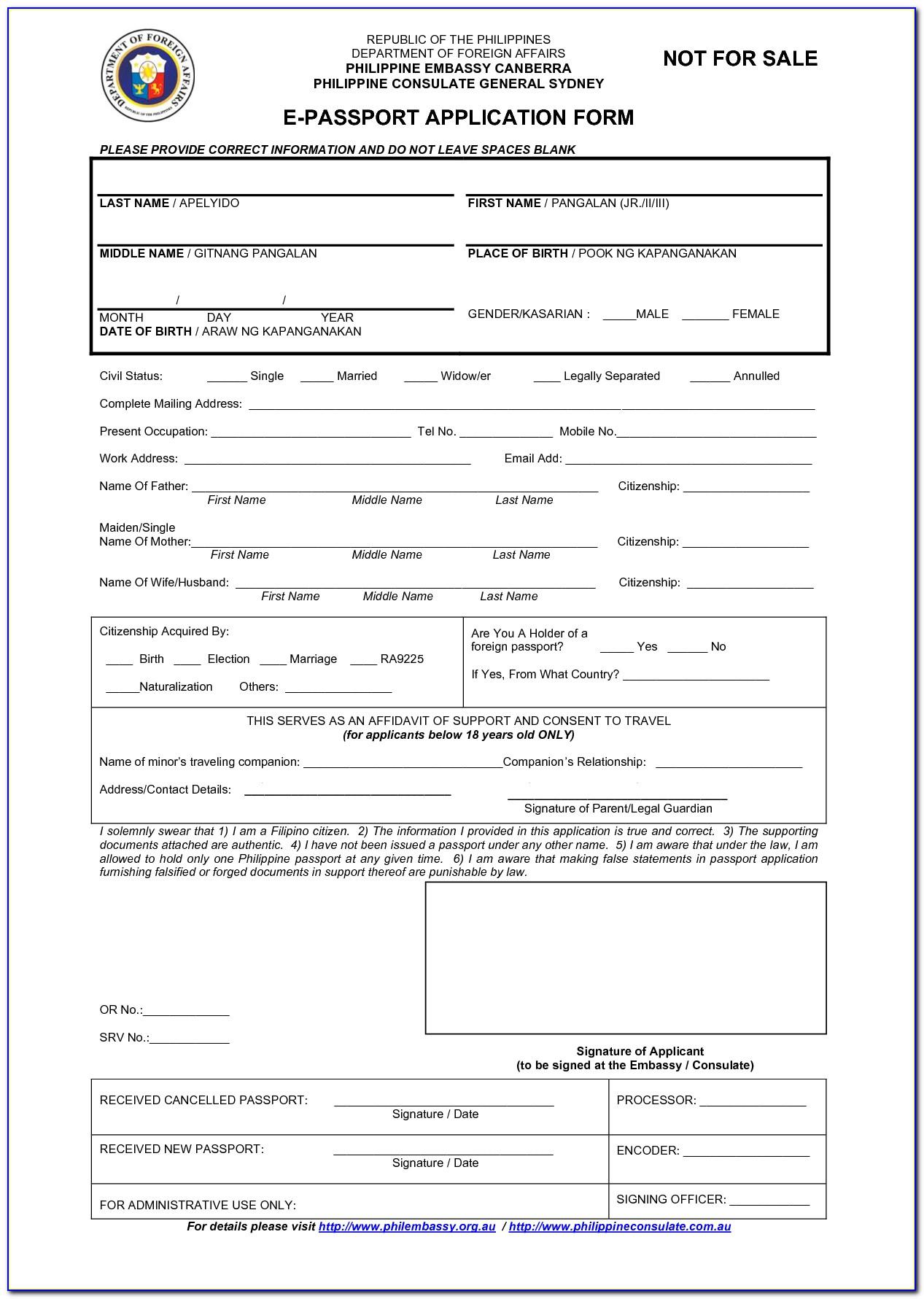 Form For Passport Renewal Application Form Resume