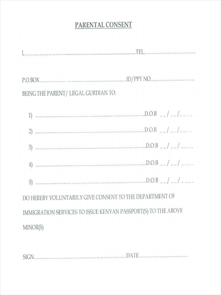 FREE 11 Parental Consent Forms In PDF Ms Word Excel