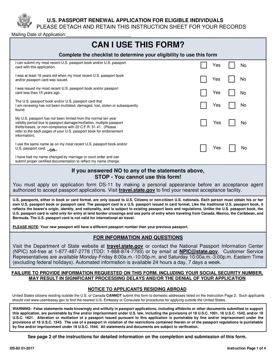 How To Fill US Passport Renewal Form Passport Renewal