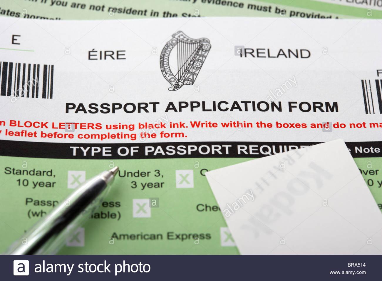 Irish Passport Application Form Stock Photo 31570928 Alamy