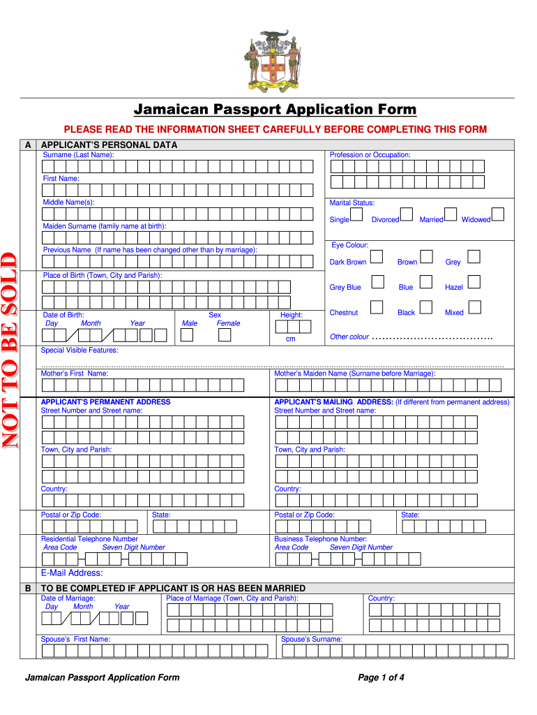 Jamaican Passport Application Form Fill Out And Sign
