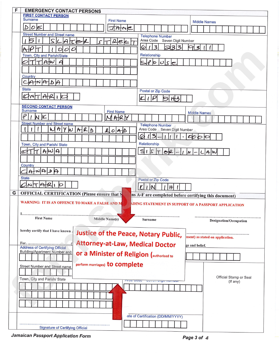 Jamaican Passport Application Form Information Sheet Www