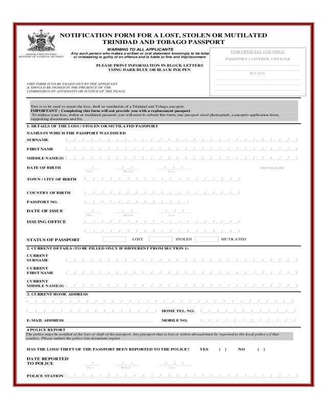 Lost Passport Notification Form Immigration Division