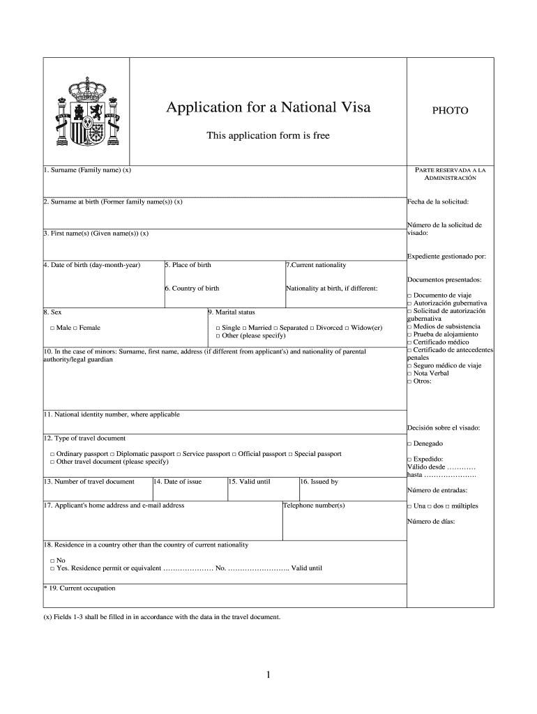 National Visa Fill Out And Sign Printable PDF Template
