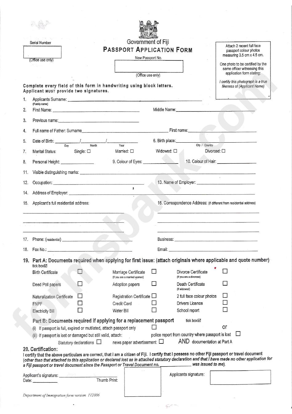 Passport Application Form Printable Pdf Download