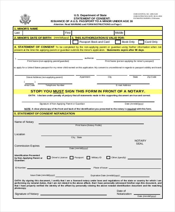 Passport Renewal Form For Minors PrintableForm