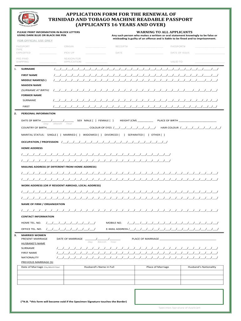 Passport Renewal Form Trinidad Fill Online Printable