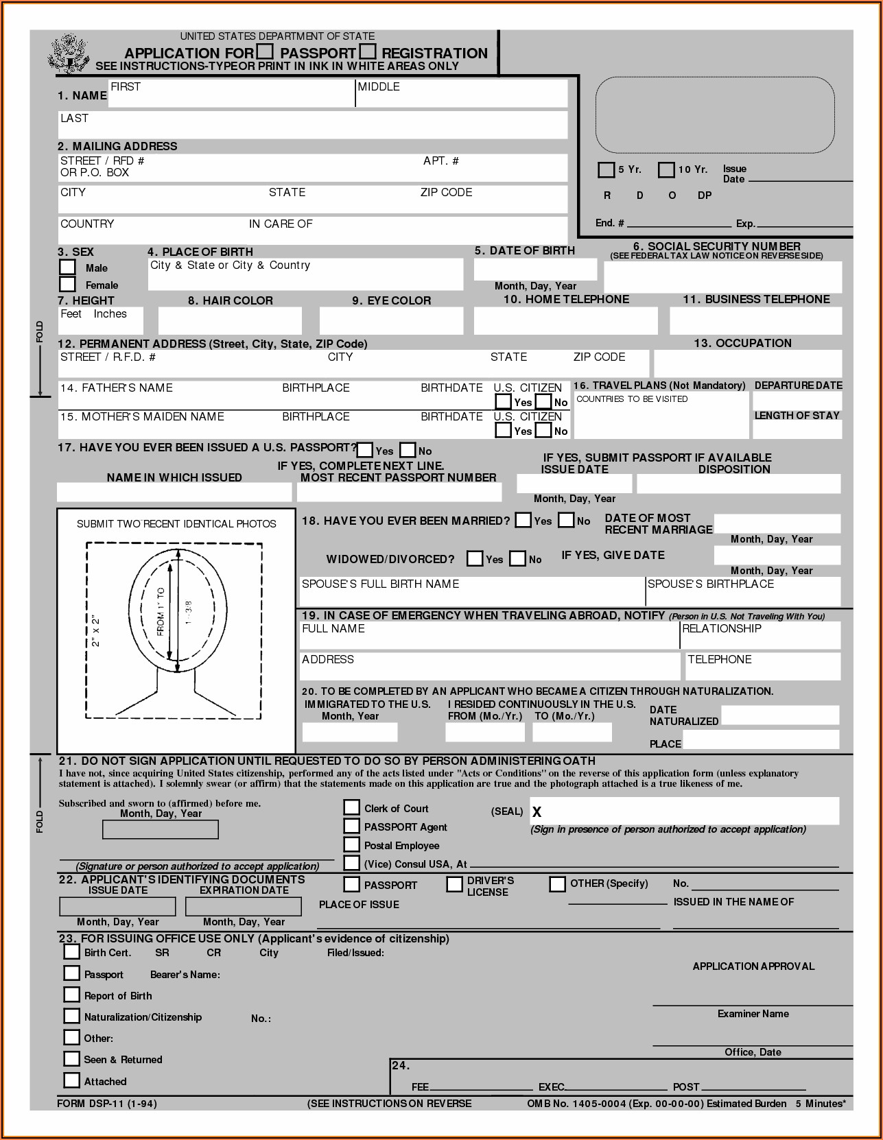 Printable Passport Renewal Form Ds 82 Form Resume