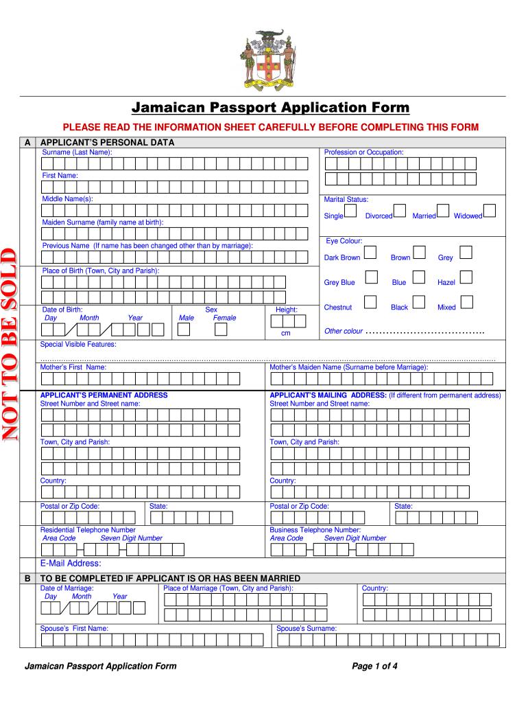 Renewal Of Jamaican Passport Fill Online Printable