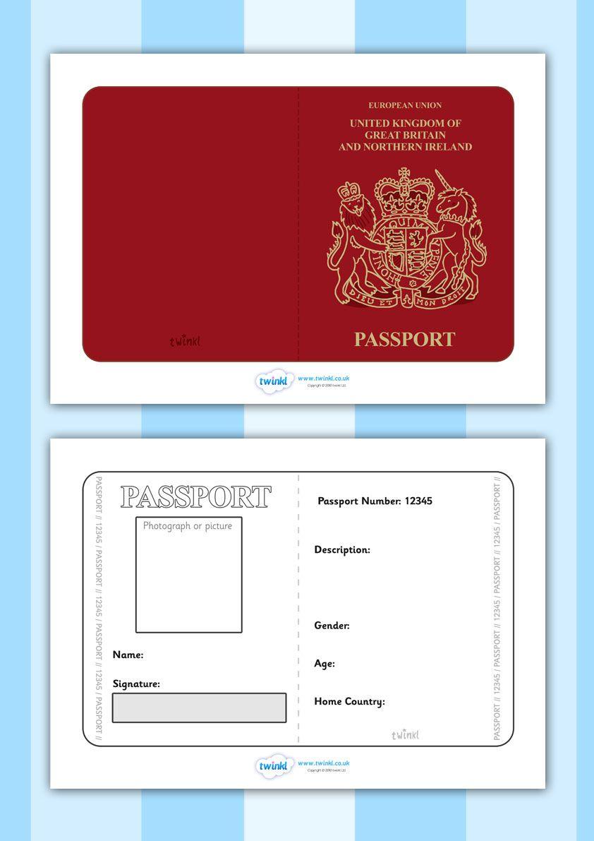 Twinkl Resources British Passport Template Printable